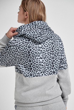 Grey Animal Colourblock Hoody