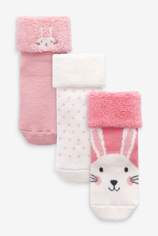 Pink 3 Pack Towelling Socks (Younger)