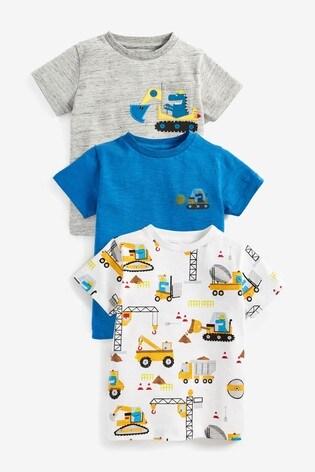 Grey Digger 3 Pack T-Shirts (3mths-7yrs)