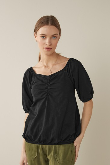 Black Bubble Hem T-Shirt