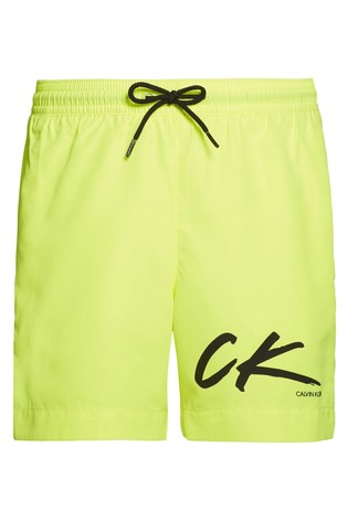 Calvin Klein Yellow CK Wave Medium Drawstring Trunks