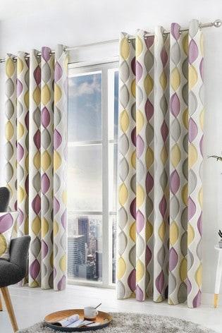 Fusion Purple Lennox Ogee Eyelet Curtains