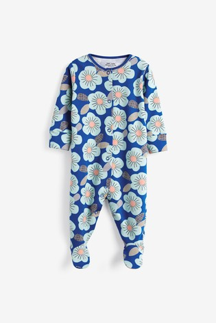 Blue 3 Pack Floral Sleepsuits (0mths-2yrs)