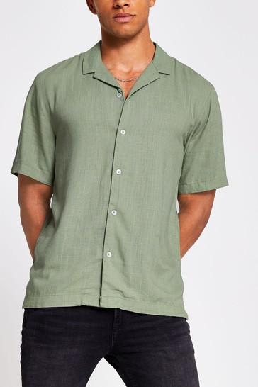 River Island Khaki Linen Revere Collar Shirt