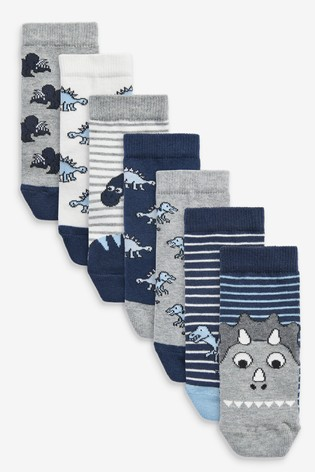 Blue 7 Pack Cotton Rich Dinosaur Socks
