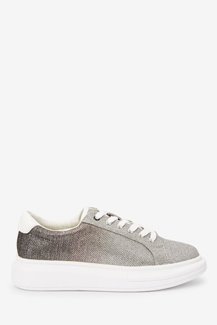 White With Glitter Chunky Lace-Up Trainers