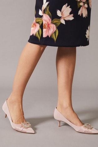 Phase Eight Pink Dasha Grosgrain Jewelled Kitten Heels