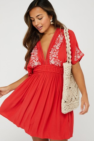 Accessorize Red Geo Lace Embroidered Kaftan
