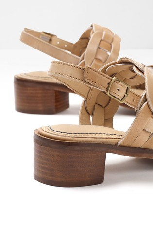 White Stuff Natural Libby Low Block Heel Sandals