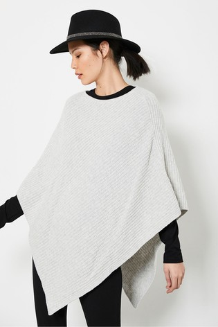 Mint Velvet Grey Ribbed Knitted Poncho