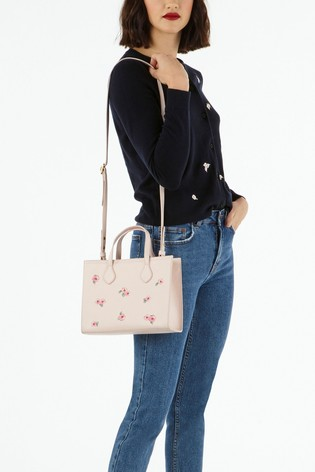 Cath Kidston® Cream Solid Leather Embroidered Grab Cross Body Bag