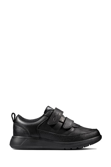 Clarks Black Leather Scape Flare Toddlers Shoes