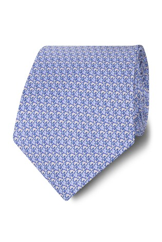 T.M. Lewin Made In Italy Wide Light Blue And Pink Fish Silk Tie