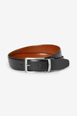 Black/Tan Reversible Perforated Leather Belt