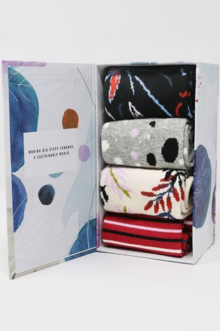 Thought Red Letitia Floral Sock Box Four Pack