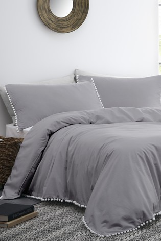 Lynton Pom Pom Embellished Duvet Cover and Pillowcase Set by Signature
