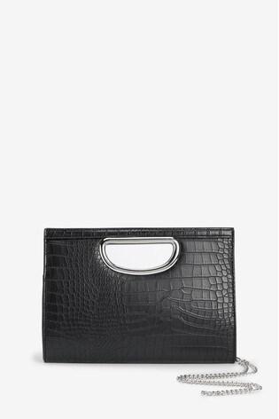 F&F Black Cut Out Clutch Bag