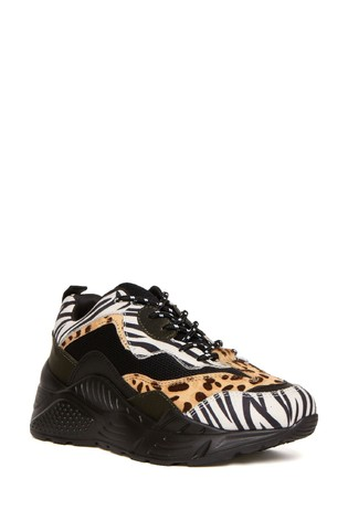 Steve Madden Animal Antonia Lace-Up Trainers