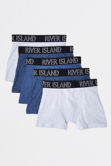 River Island Navy Boxers Five Pack