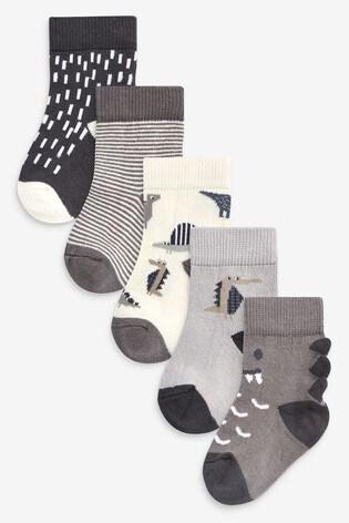 Monochrome 5 Pack Dinosaur Socks (Younger)
