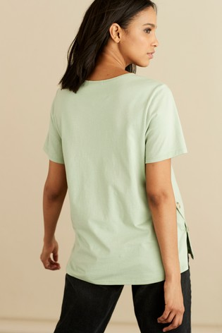 Mint Maternity Nursing Button Side T-Shirt