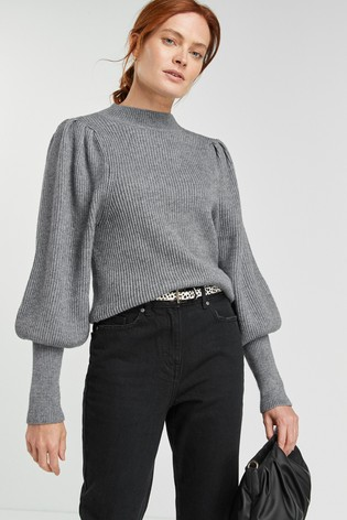 Grey Volume Sleeve Jumper