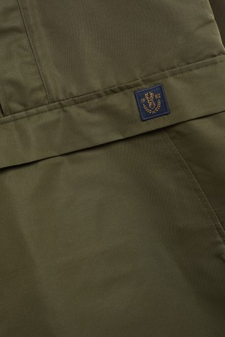 Khaki Shower Resistant Colourblock Overhead Jacket With Mesh Lining