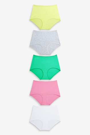 Pink/Green/Yellow/Grey Marl Full Brief Cotton Knickers 5 Pack