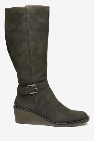 Wallis Helena Neutral Wedge Buckle High Leg Boots