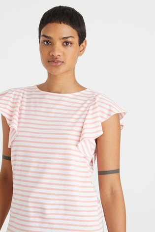 Oliver Bonas Frill Sleeve Striped Pink Jersey Top