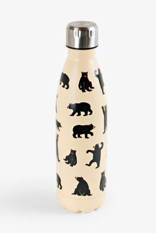 Hatley Cream Black Bear On Natural Travel Bottle