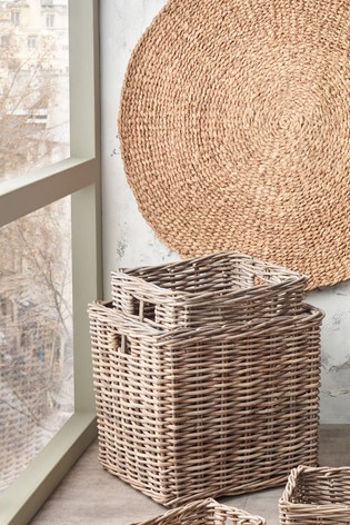 Set of 2 Stacking Kubu Square Storage Baskets by Pacific