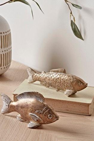 Set of 2 Cox & Cox Gilded Fish Ornaments