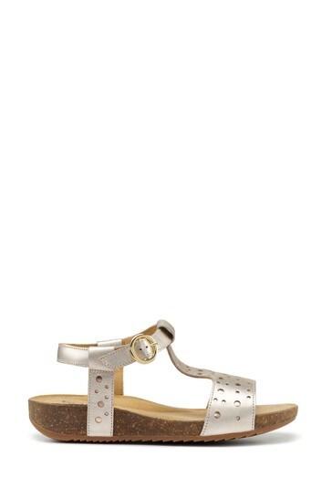 Hotter Gold Festival Wide Fit Zip Fastening Cork Sandals