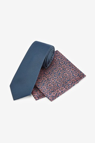 Blue Tie With Floral Pocket Square
