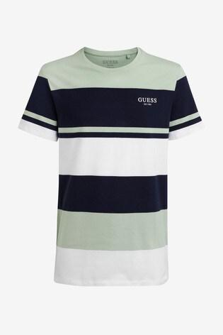 Guess Green/Blue Multi Stripe T-Shirt