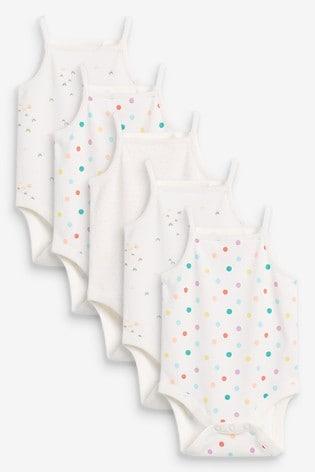Fluro Mini Print 5 Pack Vest Bodysuits (0mths-3yrs)