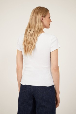 Warehouse White Rib Lettuce T-Shirt