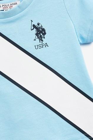 U.S. Polo Assn Blue Spliced Player T-Shirt And Joggers Set
