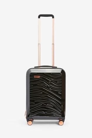 Black Small Zebra Embossed Hard Shell Suitcase