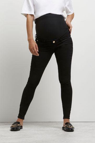 River Island Black Maternity Molly Overbump Jeans