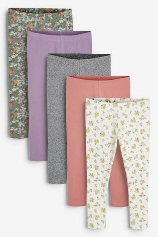 Pink Ditsy 5 Pack Leggings (3-16yrs)