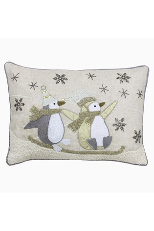 Advent Sledging Penguins Cushion by Riva Home