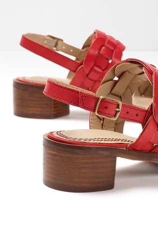 White Stuff Red Libby Low Block Heel Sandals
