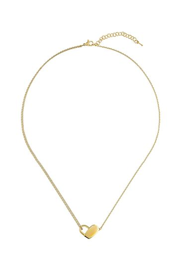 BOSS Soulmate Gold IP Heart Necklace