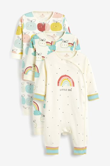 Multi 3 Pack GOTS Organic Rainbow Apple Footless Sleepsuits (0mths-3yrs)