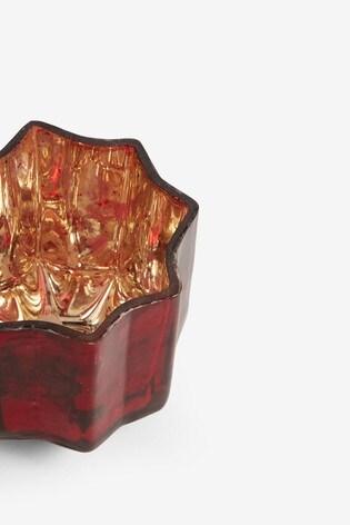 Red Glass Star Tealight Holder