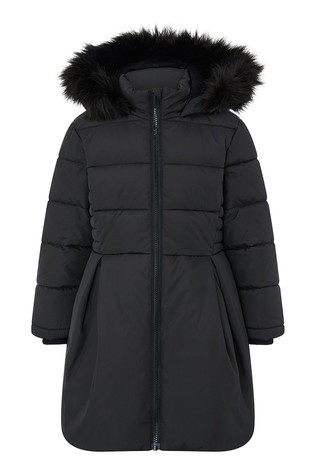 Monsoon Black Pleat Padded Coat