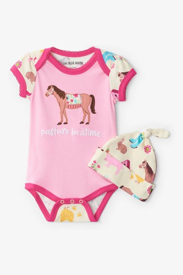 Hatley Pink Country Living Baby Bodysuit & Hat