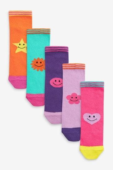 Multi 5 Pack Bright Smiley Ankle Tube Socks
